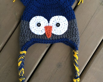 Crochet Owl Hat, Baby Boy Owl Hat, boy Owl Hat, Newborn Photo Prop, Kids owl hat