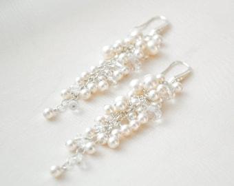 Bridal Earrings, Pearl and Crystal Wedding Earrings, Pearl Cluster Bridal Earrings
