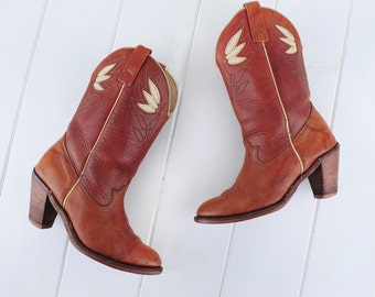 Gisele Boots / 1970s Vintage Cowboy Boots Embroidered Acme Brown Leather Hippie Boho Wing Festival Western Riding High Heel Womens Cowgirl 7