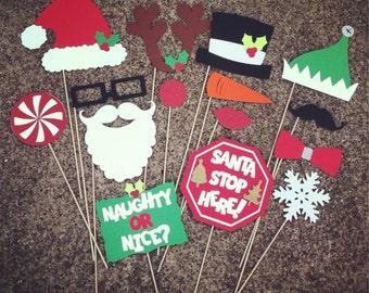Christmas GLITTER Photo Props- set of 15 - Photo Booth Props, Christmas Photobooth, Holiday Props, Holiday Parties, Holiday Photo Booth