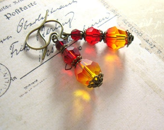 Fire Opal Earrings - Swarovski Crystal Neo Victorian Vintage Style Red Orange and Yellow Earrings - Antique Brass Jewelry - Fire Earrings