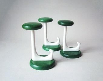 Midcentury modern hooks green, wooden green coat hooks 70s, green hook set, Danish Modern coat rack, Eames era 60s 70s green white