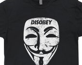 Guy Fawkes Mask T Shirt Disobey V For Vendetta Anarchy Hacker Anonymous Tee Shirt Mr Robot T Shirt