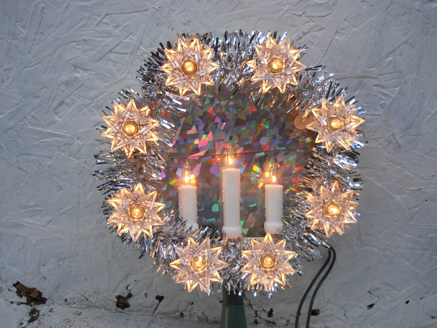 Poinsettia Christmas Tree Topper 11 Lights Clear Plastic