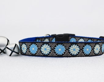 """Blue and White Flowers on Black Spring Summer Dog Collar, 1"""" Wide"""
