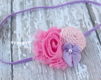 Pink and Lavender Shabby Flower and Rolled Rose Headband, Skinny Newborn Headband, Baby Headband, Girls Headband, Shabby chic headband