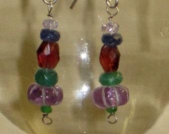 Rainbow Gemstone Dangling Artisan Earrings