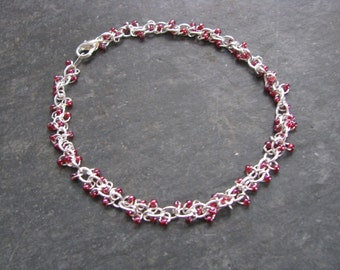 Chainmaille Bracelet; Raspberry Seed Bead; Micromaille