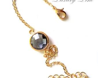 Grey Bracelet Gold Plated. Oval Bezel Stone Bracelet. Gold Chain Bracelet. Azaliya. Bridesmaid Bracelet. Bridesmaids Gift.