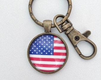 Amercian Flag Key Chain Bag Charm KC87