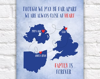 Gift for Parents, Mom and Dad, Brother, Sister - Art Print, Custom 3 Maps, Long Distance Family, Christmas Gift, Military Family