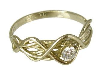 Engagement Ring.Daimond ring,14 karat  ring, White gold ring,Recycled gold, Wedding Band, Gold
