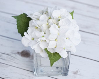 Silk Off White Hydrangeas and Greens Arrangement Centerpiece - Small Glass Vase Faux Home Decor Artificial Flowers