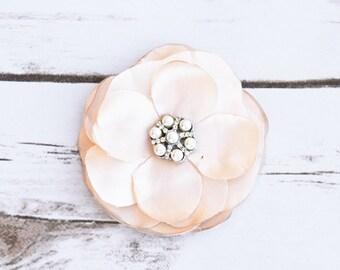 Champagne Rhinestone Pearl Brooch Satin Flower Wedding Hair Pin or Corsage - Brooch Pin Clip