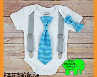 Cute Baby Boy Clothes - Baby Boy Outfit - Blue Plaid Tie - Little Man Outfit - Spring Wedding - Trendy - Preppy Baby Clothes - Easter Boy