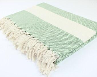 Large Beach Blanket, Picnic Blanket,Towel Blanket, Green, Diamond, Beach Blanket Towel, Exclusive Quality, Green