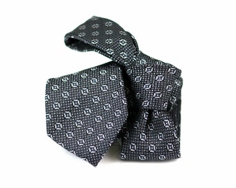 Tie (2.5 inch) in Neats with Black, Grey, Charcoal (also available in pocket squares)