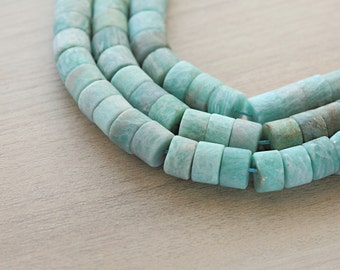 10 pcs of Natural Amazonite Frosted Wheel Beads