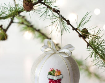 Christmas ornament, hand embroidered with cross stitch picture