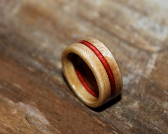 Curly Maple Ring with Veneer Center