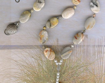 Turn Right at the Reef - Agate Gemstone Fish Pendant, Crazy Lace Agate, FW Pearls, SS Necklace OOAK Sea Ocean Beach Jewelry