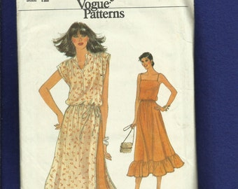 Vintage 1970's Vogue 7309 Prairie Chic Ruffled Tier Sun Dress & Over Jumper  Size 12
