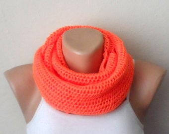 orange knit infinity scarf orange circle scarf