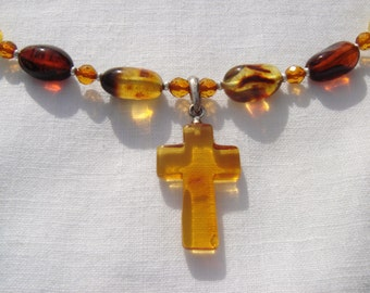 Amber Necklace, Amber Cross Necklace, Amber Pendant, Amber Cross Necklace, Amber Jewelry, Amber Cross Pendant, OOAK