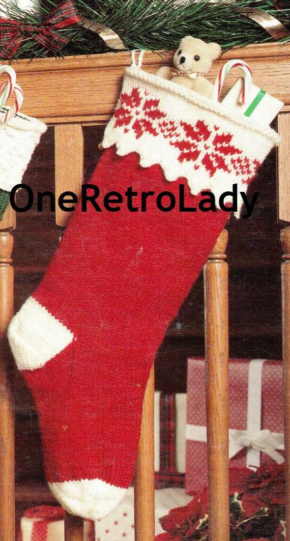 Christmas Stocking Knitting Pattern Straight Needles : Knit christmas stocking snowflake pattern by oneretrolady