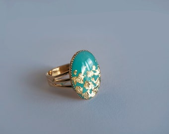 Turquoise Gold Adjustable Ring - Gift for Her