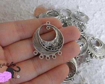 4 Connectors chandelier 25x33 mm antique silver tone - SP32