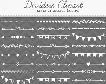 Hand Drawn Dividers Clipart Vector EPS / INSTANT DOWNLOAD / Ornaments Doodle Decorative Borders Chalkboard Clipart Set of 24 / 185