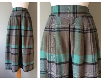 Vintage Grey Plaid Skirt Teal Aqua and Black Wool Full Long Skirt Pleated Over the Knee Length Preppy High Waist Size 0 2 XS X-Small Small