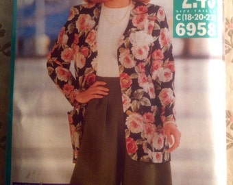 Vintage 1980s Top and Skirt 2-Piece Dress Pattern // Butterick See & Sew 5813, size 20, XXL, plus