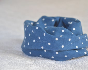 Baby scarf, Toddler Scarf, Infant Scarf, Infinity Scarf, Children's blue polka-dot Scarf, Flannel Infinity Scarf Infant/Toddler Scarf