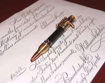 Handmade: Steampunk Pen with Bolt Action; Antique Brass/Copper with Gaboon Ebony; Free Shipping