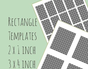Rectange templates - 3 x 4 inch retangle  and 1 x 2 inch rectangle - digital collage template - instant download