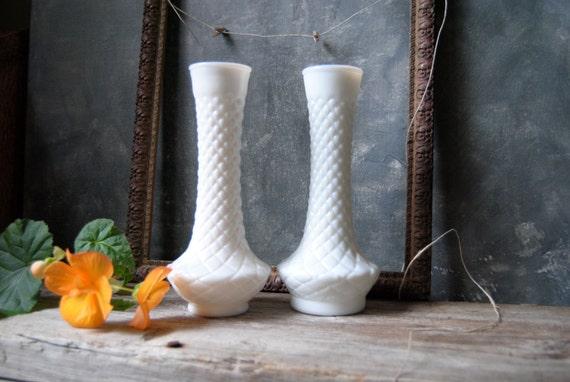 Vintage Milk Glass Bud Vases Set Of Two Cross Hatched Design