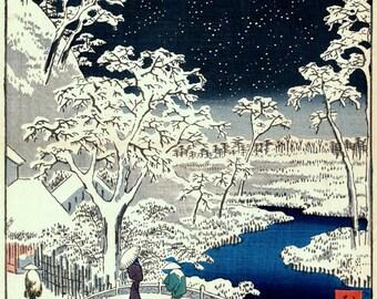 Japanese art, Hiroshige Snow Drum Bridge Views of Edo FINE ART PRINT, ukiyo-e woodblock prints, old tokyo landscapes, paintings, posters