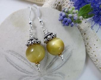 Honey Tigereye Earrings,  Gemstone Earrings, Sterling Silver Earrings, Tiger Eye Earrings, Semi-precious Gemstone Earrings, Silver Earrings