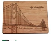 Golden Gate Bridge Skyline Personalized Cutting Board| Engraved,Personalized Wedding Gifts,Custom Cutting Board,Wedding Gift,Christmas Gifts