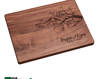 Personalized Engraved Cutting Board with Birds & Branch Design, Wedding gift, Anniversary gift, Housewarming gift, Custom Cutting Board