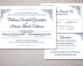 "Beautiful Romantic ""Bethany"" Wedding Invitations Suite - Ornate Floral Elegant Invite - Custom Digital Printable DIY or Printed Invitation"