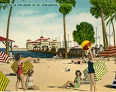 Bathing Beauties on Spa Beach in Heart of St. Petersburg Florida Vintage Postcard (unused)