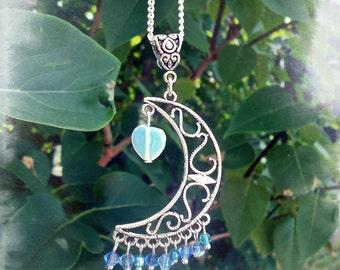 Blue Opalite Heart Celestial Filigree Necklace