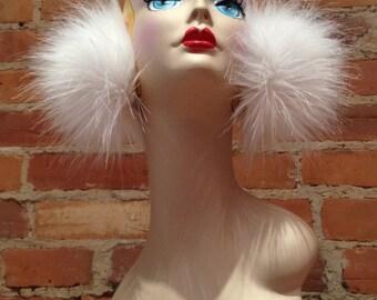 Fluffy Snow White Faux Fox Fur Earmuffs