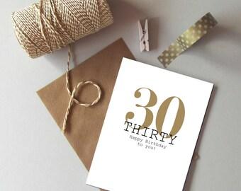 30th Birthday card - Happy 30th Birthday - Thirty today card - Age 30 birthday card