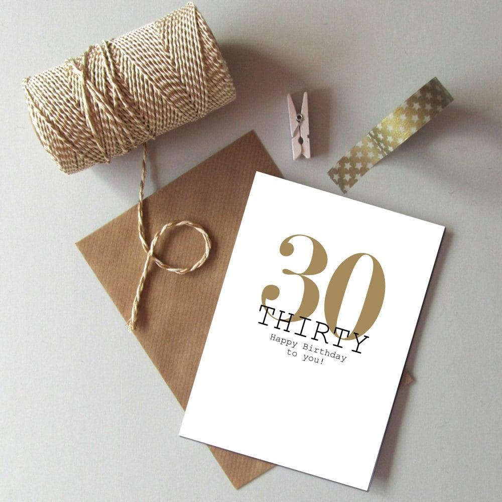 30th Birthday card Happy 30th Birthday Thirty today card – 30th Birthday Card
