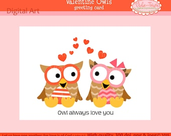Valentine Owls clip art clipart heart flowers by ...