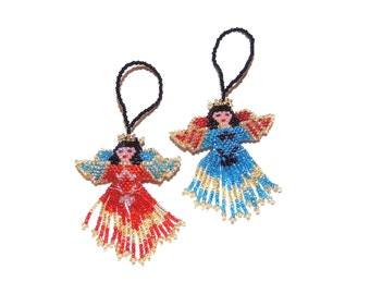 Two Beaded Ornaments-Bright Angels
